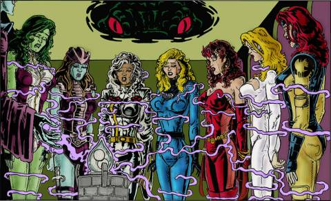 She-Hulk, Andromdea, Storm, Invisible Woman,Scarlet Witch, Dagger, and Jean Grey