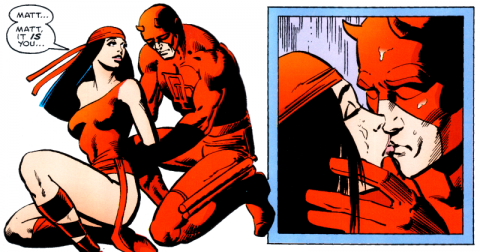 Elektra learns Daredevil's secret identity.