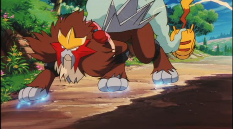 Pikachu fails to halt Entei.