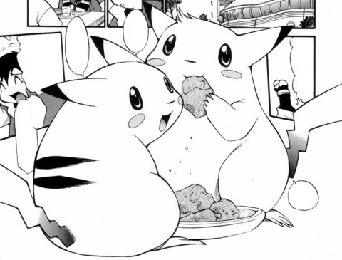 Sparky and Ash's Pikachu from 'Electric Tale of Pikachu'