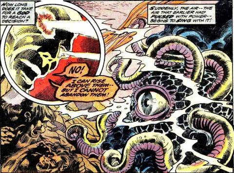 Humankind's ancestors are saved from Shuma-Gorath by Sise-Neg.