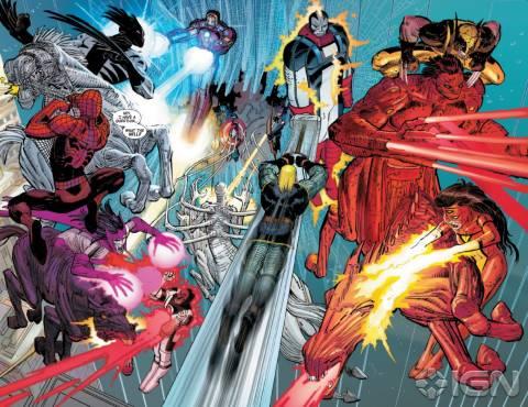 Battle scene between the Avengers & the Horsemen of Apocalypse