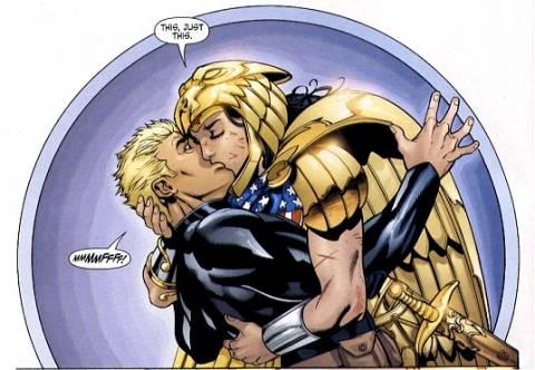Wonder Woman kisses Tom
