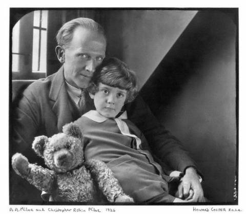 A. A. Milne, Christopher Robin and Pooh.