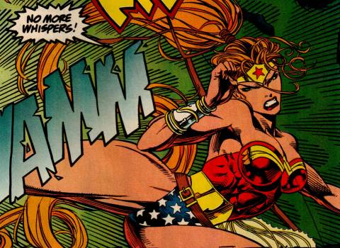 In action as Wonder Woman