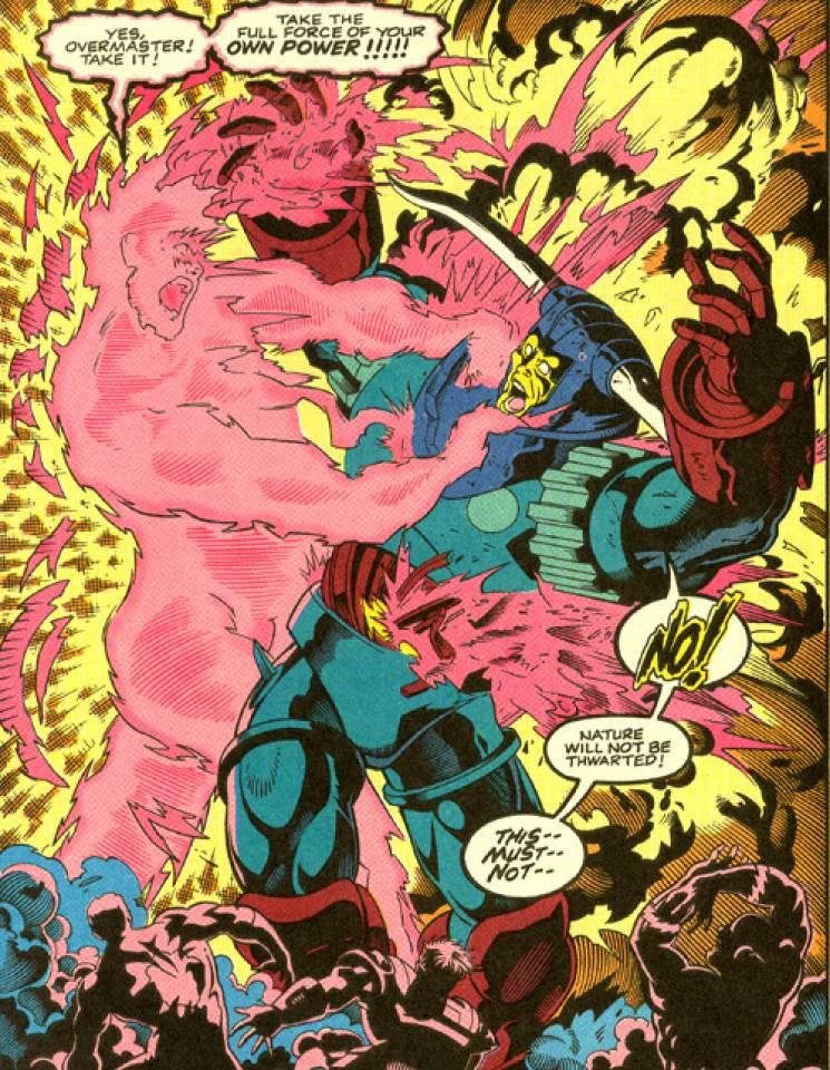 Amazing-Man absorbing Overmaster's powers