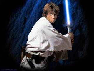 Luke with his father's lightsaber