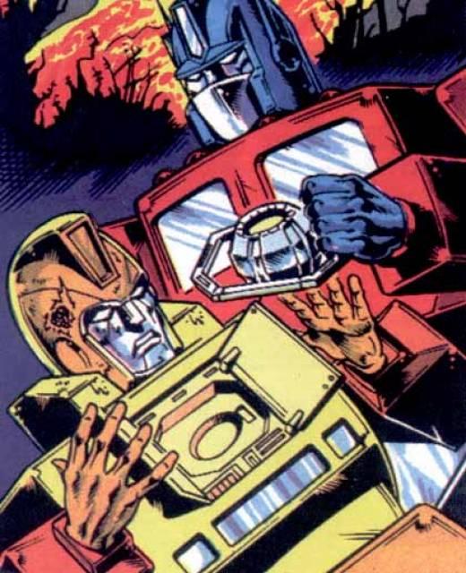 Sentinel Prime passes the matrix down to Optimus