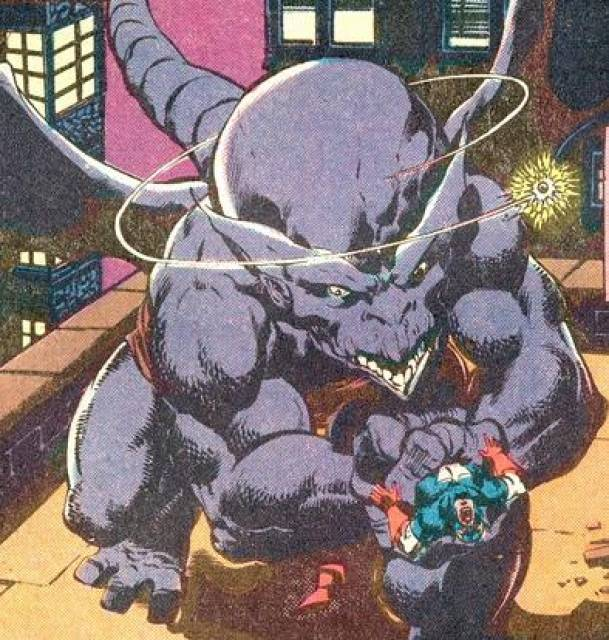 Captain America in the clutches of Dragon Man.