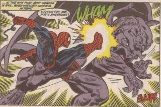 Dragon Man vs Spider Man during the Acts of Vengeance.