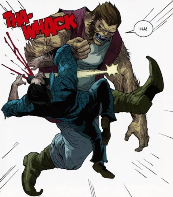 Cannon Foot takes on Wolverine.