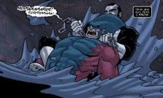 Punisher chokes out Tiger Shark.