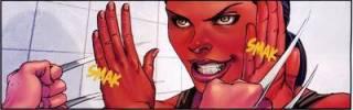 Blocking X-23's adamantium claws.