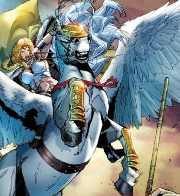 Brunnhilde rides Aragorn into battle