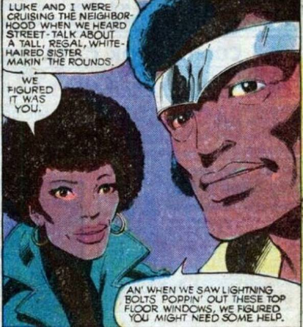 Luke and Misty Knight talking to Storm