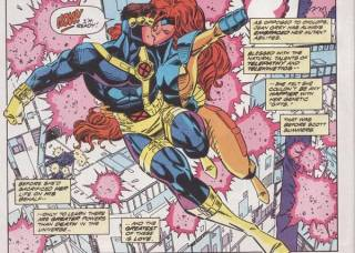 Cyclops and Jean escaping from Stryfe