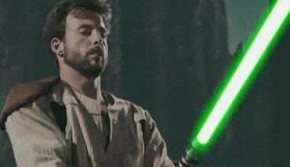 Kyle Katarn wielding a lightsaber