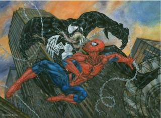 Venom fights an evil Spider-Man in the Land of the Lost Ones