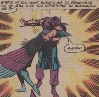 Hawkeye and Deathbird.