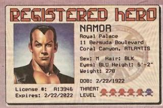 Namor's Hero Identification Card