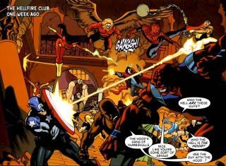 The Avengers fighting the Hood's Gang