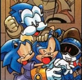 (Clockwise) Uncle Chuck, Jules, Sonic, and Bernadette.