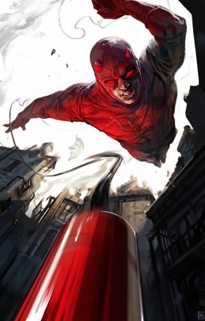 Daredevil's iconic red costume.