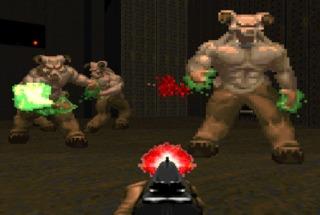 Doom using his shotgun on Barons of Hell