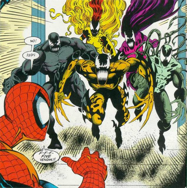 Spider-Man meets the five new symbiotes.