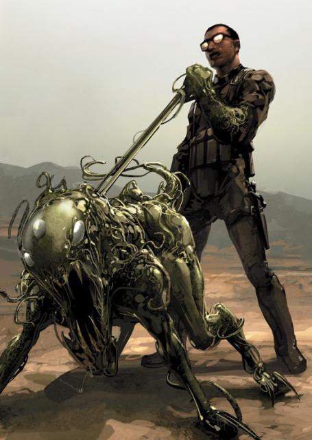 Marcus Simms & his symbiotically enhanced war dog.