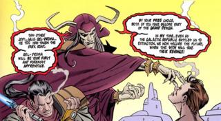 Marka Ragnos proclaiming Exar Kun and Ulic Qel-Droma as Sith Lords