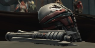 Revan's famous mask and lightsaber