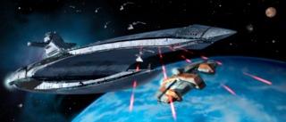 The Leviathan firing at the Ebon Hawk
