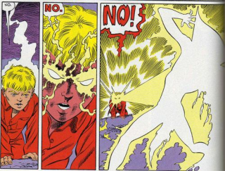 Franklin Richards coming to the aid of his helpless mother