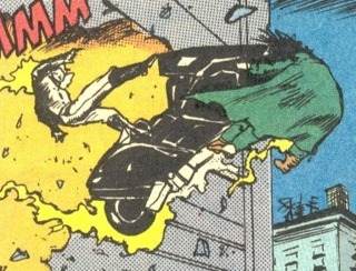 Battered by Ghost Rider's motorcycle