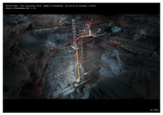 Concept art of the Wakandan mine