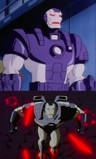 The War Machine armor in the first and second seasons of the Iron Man cartoon