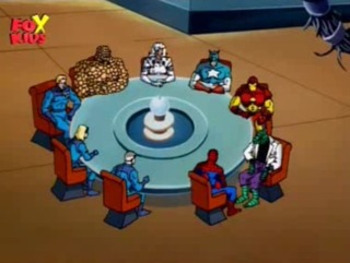 The assembled heroes in Spider-Man: The Animated Series