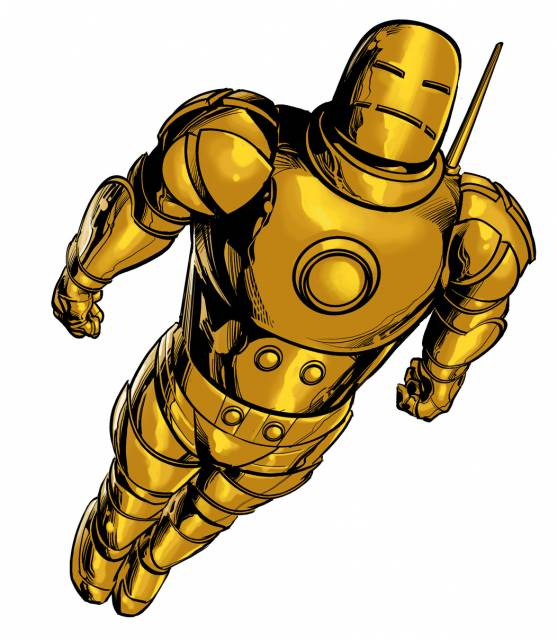 Original armor painted gold.