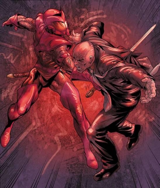 Swordsman vs. Baron Strucker by Tom Grummett