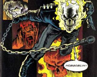 Dan's skin melts when transforming into Ghost Rider.