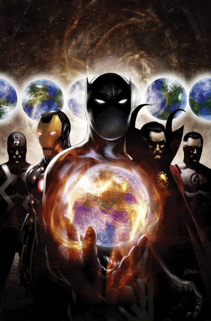 From left to right: Black Bolt, Iron Man, Black Panther, Dr. Strange, and Mr Fantastic. Namor and Beast are also members.