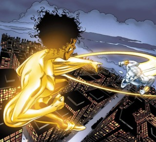 Confronting Genis-Vell about stealing her code name, again.