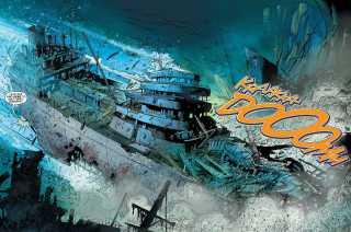 Aquaman throwing a ship at the King