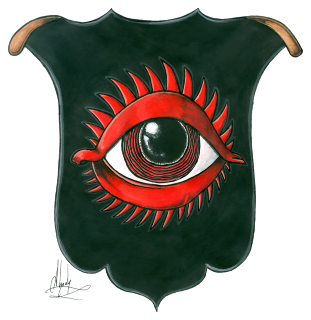 The Red Eye of Sauron, it symbolizes his watching from the Dark Tower all over Middle-earth, especially after the One Ring.