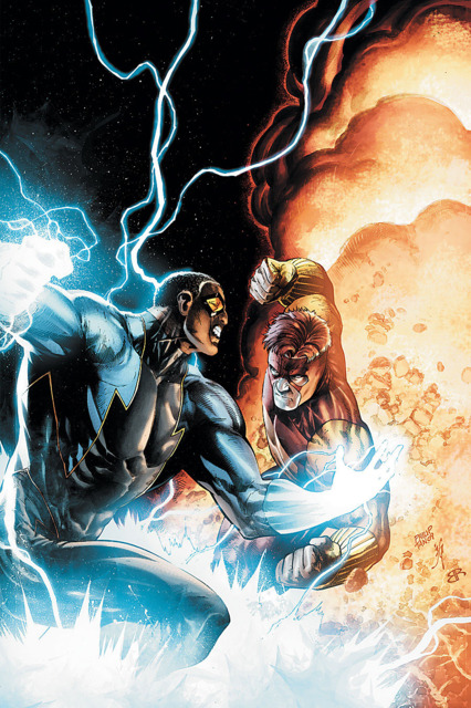 Black Lightning's powers grew more and more powerful during the fight with Geo Force.