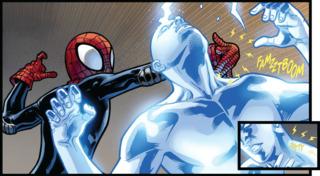 Miles using his Venom Sting.