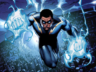 Black Lightning can manipulate the air at a sub-atomic level, basically guiding lightning towards himself by controlling electrons and protons, which he can use to empower himself even more. He can absorb every electrical source around to empower himself.