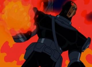 Slade returns as Trigon's henchman.