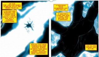 Wally West explains how Doctor Manhattan interfered with the timeline.